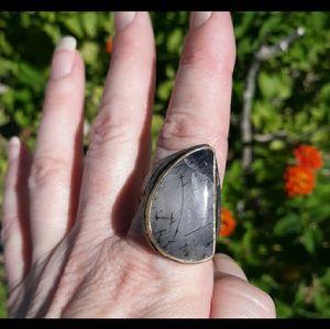 Unique Black Rutile Silver Overlay Ring. Size 10